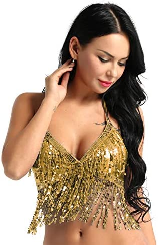 easyforever Women s Glitter Sparkle Belly Dance Bra Top with Sequins Tassel Party Club Wear product image