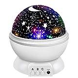 Proyector Estrellas 16 Modos Lámpara de Nocturna para Niños 4 Colores 360° Rotación Lámpara Proyector Infantil para Cumpleaños, Navidad, Halloween Regalo (blanco)