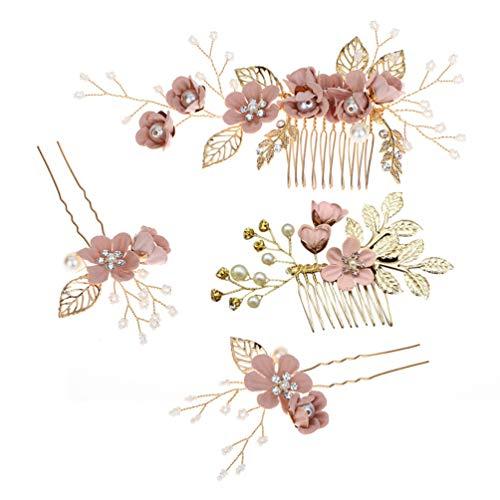 TOYANDONA Peineta para el pelo con diseño floral para novia, con estrás, 4 unidades (rosa)