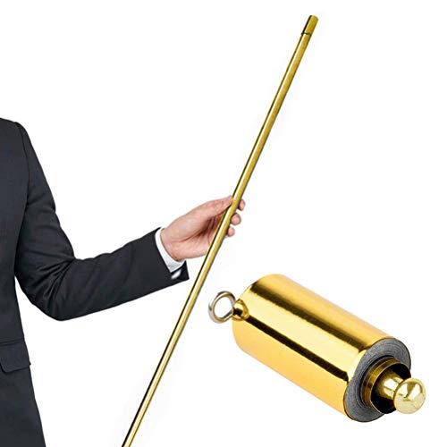 buycheapDG(JP) マジック 伸縮棒 手品ステッキ 金属製 伸び飛び出る 杖スカーフ おもちゃ 魔法小道具 スティック 舞台演出 ワンド リアルステージマジックトリックアクセサリー 子供 ギフト マジシャン1.3m(金)