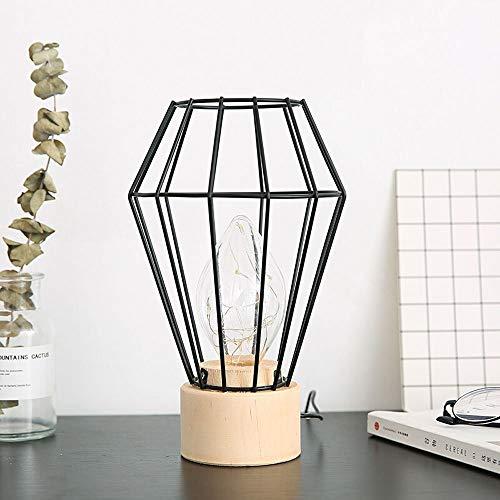 XIAO FAN * Nordic Minimalist Smeedijzeren nachtkastje Tafel Licht Houten Lamp Base Creatieve Nachtlampje Persoonlijkheid Home Accessoires Mode Bureaulamp (Kleur : Zwart)