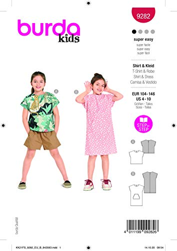 Burda 9282 Schnittmuster Shirt und Kleid (Kids, Gr. 104-146) Level 1 super Easy