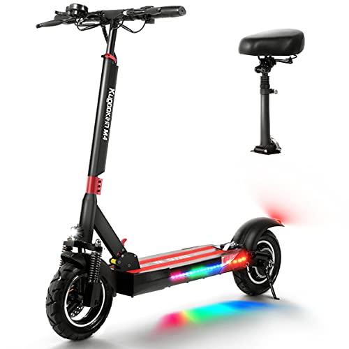 Patinete Electrico Adulto, scooter eléctrico plegable, pantalla LCD 10AH500W, 3 modos de velocidad, neumáticos de 10 pulgadas, equipados con asientos y luces LED para scooters eléctricos para adultos