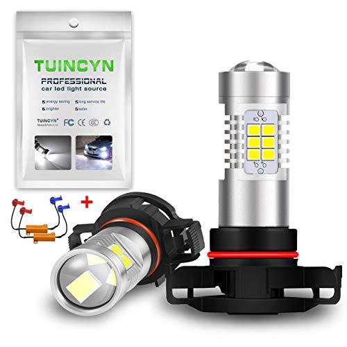 TUINCYN PSX24W LED Ampoule antibrouillard Canbus sans Erreur DRL Remplacement de la Lampe 2835 21SMD 6500K Voiture Pure Conduite Feux de Jour 10,5 W DC 12 V (Pack de 2)