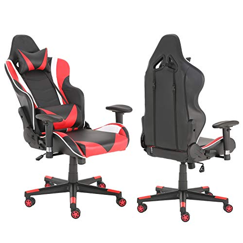 Gaming Chair Racing High Back Office Computer Game Video Chair Ergonomic Backrest and Seat Height Adjustment Recliner Swivel Rocker with Headrest and Lumbar Pillow E-Sports Chair (Red)