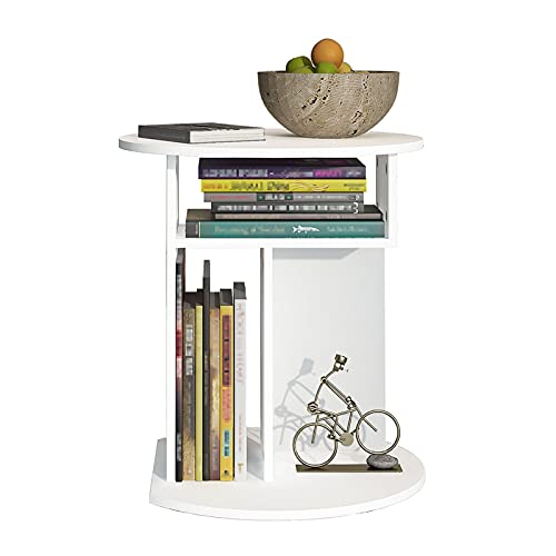 Mesas de centro Mesa auxiliar redonda, mesa auxiliar con estante de almacenamiento, mesa de centro para sala de estar, dormitorio y balcón, fácil montaje (16,9 x 18,5 pulgadas, blanco) ( Color : A )