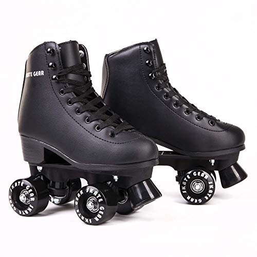 C SEVEN Cute Roller Skates for Kids and Adults (Black, Youth 1)