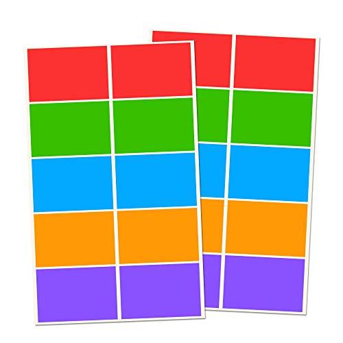 250 Stück, Etiketten Aufkleber Bunt Selbstklebend - 75 x 50 mm, 5 Farben