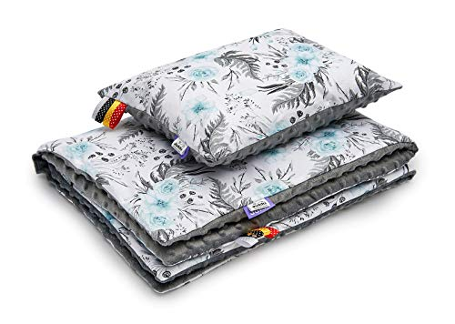 Solvera_Ltd Babydecke & Kissen | Set für Jungen & Mädchen | Ultimativer Komfort für Zuhause & Reisen | Für Kinderwagen, Auto & Kindergarten | 100% Baumwolle und MINKY (KO) (In Garden/Minky Grau)