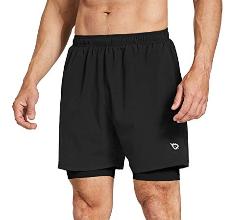 BALEAF Men's 2 in 1 Running Athletic Shorts Quick Dry Active Gym Shorts Back Zipper Pocket Black/Black Size L