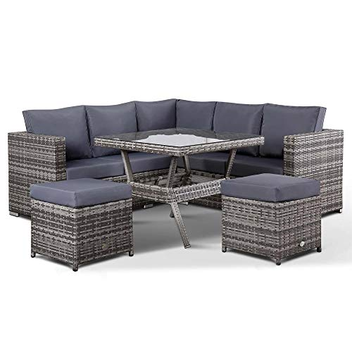 Club Rattan Lille Corner Sofa with Dining Table and 2 Stools in Small Grey Rattan