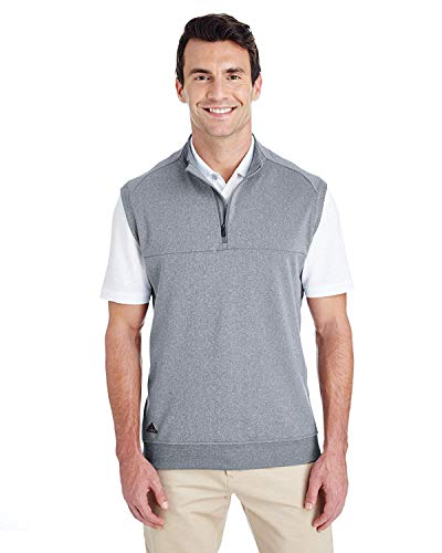 New adidas Golf Mens Quarter-Zip Club Vest (A271) -Vista Grey -M