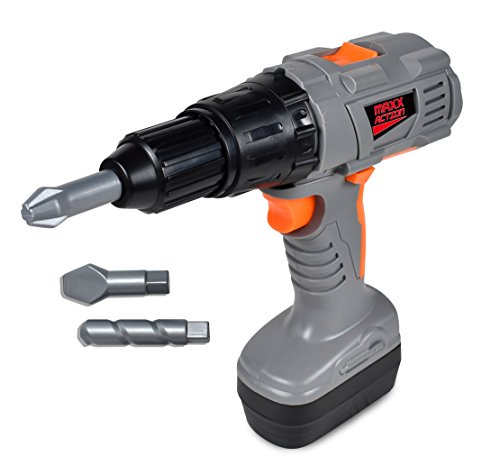 Sunny Days Entertainment Maxx Action Power Tools Drill – Construction Tool with Interchangeable Bits, Ruler and ID Card   Pretend Play Toy For Kids