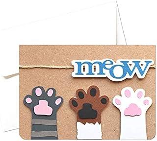 Meow - gatti - zampette - biglietto d'auguri (formato 10,5 x 15 cm) - vuoto all'interno, ideale per il tuo messaggio perso...