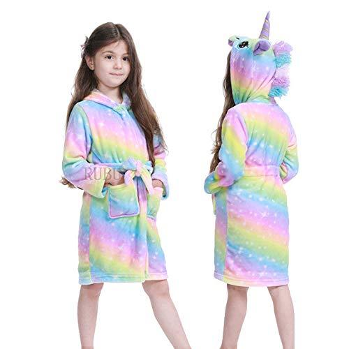 IAMZHL Nuevo Invierno Big Boys Girls Bata de baño Niños Pijamas de Franela con Capucha Alargar Albornoces para Adolescentes Pijamas de Dibujos Animados-Rainbow Stars Pegasu-9-7
