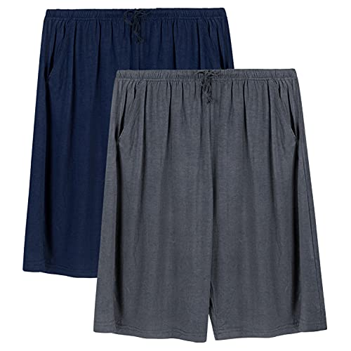 2 Piezas Pantalones Cortos de Pijama para Hombre Verano Shorts Cintura Ajustable de Modal con Bolsillos