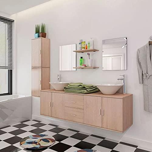 Conjunto de Muebles de baño y Lavabo 9 Piezas beigeMobiliario Conjuntos de Muebles Muebles de baño