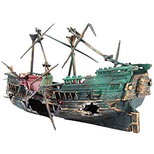 CandyTT Acuario Barco Pirata naufragio Roto decoración de Acuario Accesorios de Acuario decoración de paisajismo del hogar (Verde)