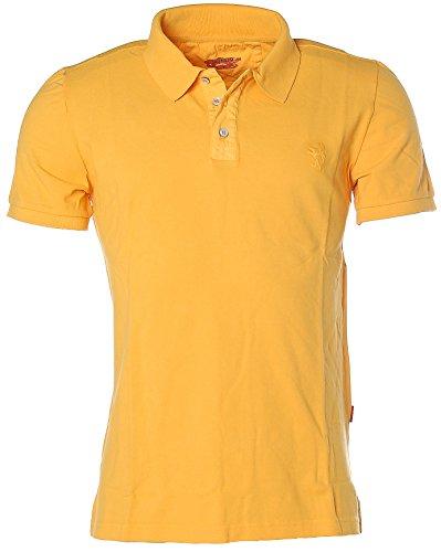 Signum Herren Kurzarm Shirt Poloshirt Polokragen Pikee Blumen Saffron M
