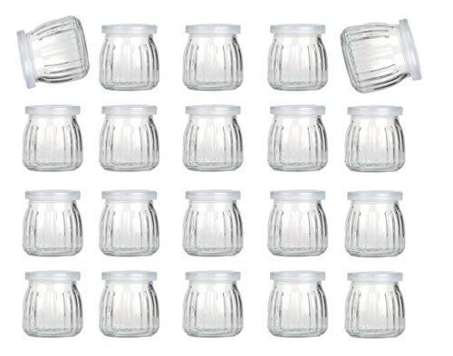 Encheng 4 oz Clear Glass Jars With Lids,Glass Yogurt Container With Caps(PE),Replacement Glass Pudding Jars Yogurt Jars,Clear Glass Containers For Milk,Ramekin,Jams,Jelly,Mousse 20 Pack …