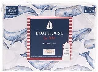 Boat House For Kids Coastal Ocean Themed 100% Cotton Sheet Set with Blue Marine Whales - Nautical Sea Life Sheet Set (Full)