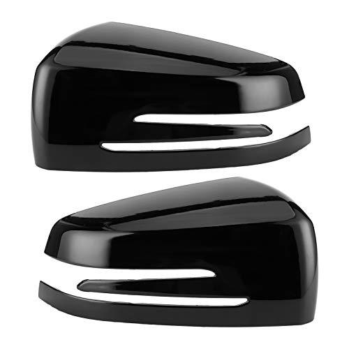 Cubierta de espejo lateral, 2 uds, Cubierta de espejo retrovisor lateral, tapa decorativa para Benz A B C E CLS CLA GLA(Negro brillante)