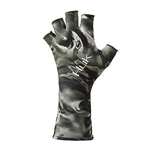 Huk Men's Mossy Oak Hydro Sun Quick-Drying Fingerless Fishing Gloves
