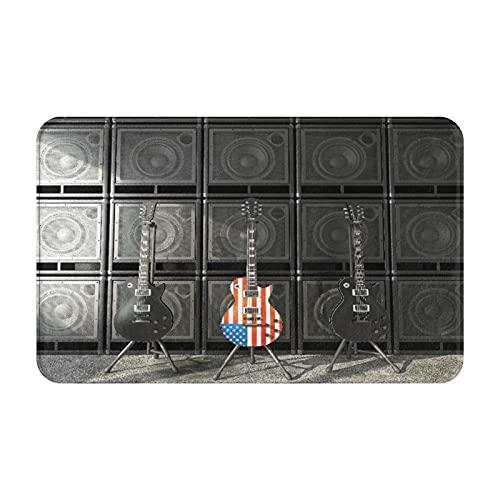 CVSANALA Antideslizante Suave Alfombra de Baño,American Flag Black and Us Bajo Guitarra Electrónica Rock Música,Micro Personalizado Decoración del Hogar Baño Alfombra de Piso,80 x 49 CM
