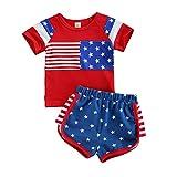 Niño Bebé Niño Independencia Día Ropa 4 de Julio Camisa Pantalones Cortos Trajes 100% Algodón Elástico Cintura Casual