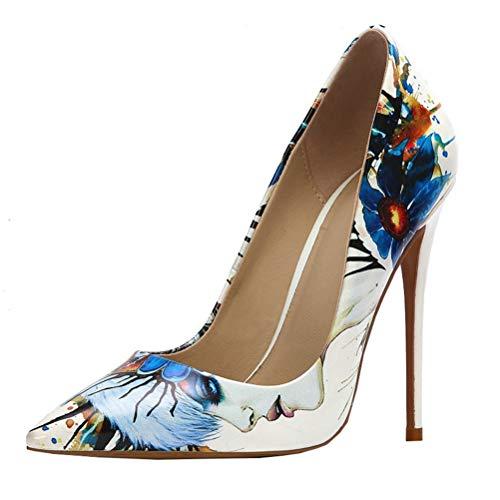 Dearney Damen Pumps High Heels mit Blumenmuster Pfennigabsatz Spitze Stiletto Hoher Absatz Damenschuhe(Weiß,44)