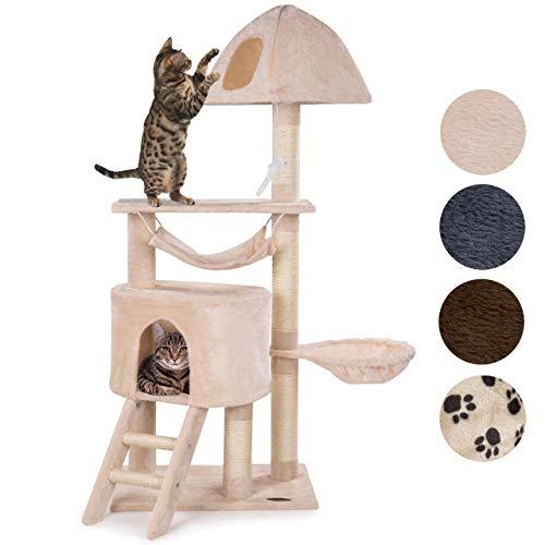 happypet® Kratzbaum für Katzen mittelgroß 145 cm hoch, Kletterbaum Katzenbaum, CAT014-4 stabile Säulen mit Sisal ca. 8cm, Liegemulde, Hängematte, Haus, Höhle, Treppe, Aussichtsplattform, BEIGE
