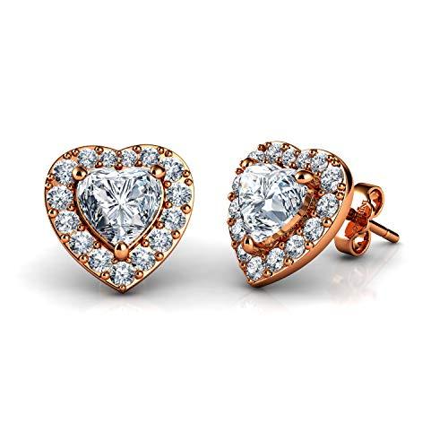 DEPHINI - Pendientes de oro rosa - Plata de ley 925 chapada en oro - Pendientes de tuerca con forma de corazón para mujer - Regalos para ella