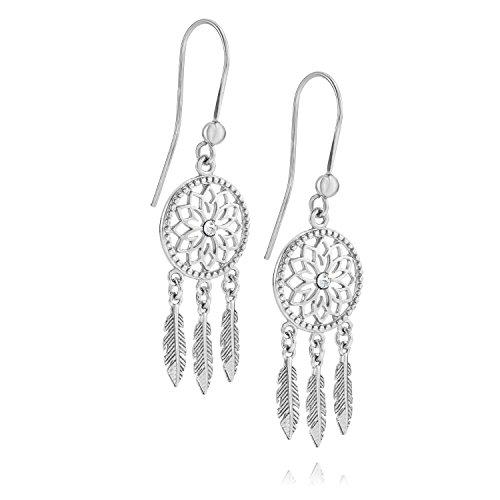 LillyMarie Damen Ohrringe Sterling-Silber 925 Klar Swarovski Elements Traumfänger Geschenkverpackung Geschenke für Mama