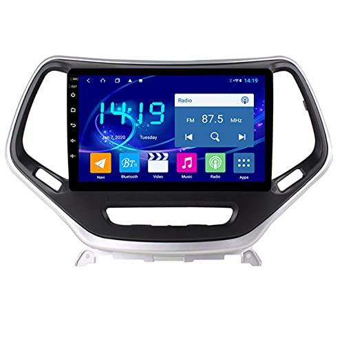 Android 10.0 9 Pulgadas Radio Satelital Para Automóvil Reproductor Multimedia Autoradio 2.5D Navegador GPS Para JEEP CHEROKEE 2014-2018 Con WiFi Bluetooth Control Del Volante(Color:WIFI 4G+64G)