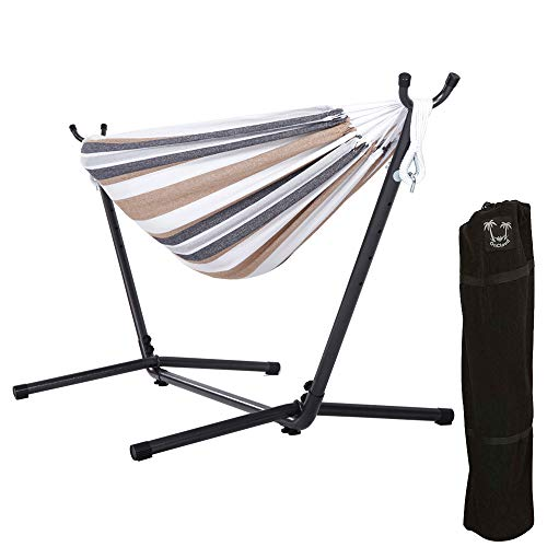 ONCLOUD Double Hammock with 9 FT Space Saving Steel Stand Heavy Duty Carrying Case for Outdoor or...