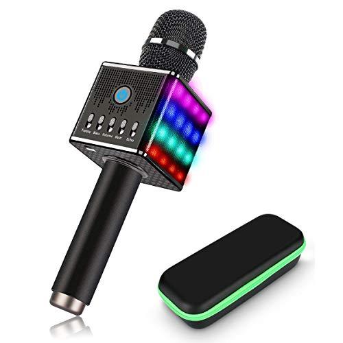 WLGQ Micrófono Wireless-H8, Altavoces Bluetooth portátiles de Mano con Luces LED Multicolores 2200 mAh Música de Alta fidelidad Teléfono Celular para KTV en casa, Fiesta al Aire Libre, Mini conci