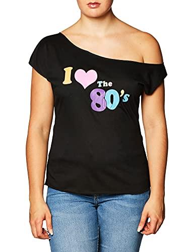 I Love The 80s Off Shoulder Shirt, Black, Adult, 2XL Size