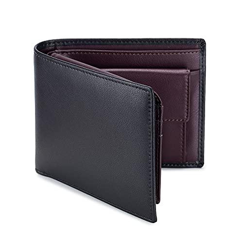 TIANHONGDAISHU Billeteras para hombre con bloqueo RFID, cartera de tres pliegues, minimalista, personalizable, de cuero genuino, con bolsillo para monedas, diseño de dinero, rojo vino (Rojo) -