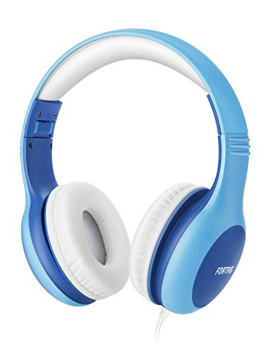 Fortas Kids Headphones, Audio Sharing Function On-Ear Headphones with 85dB Volume Limited, Soft Earmuffs, 3.5mm Jack, Compatible with iPhone, iPad, Cellphones, Tablets, Android, Mac, PC (Blue)