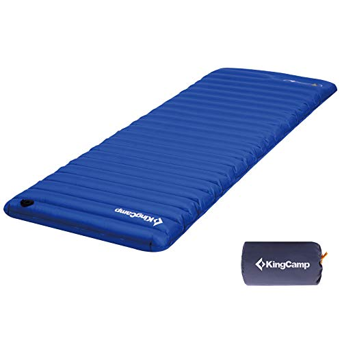 KingCamp Colchoneta de Camping Individual Grueso 10 cm Colchón Inflable para Dormir para Exteriores con Bomba de pie incorporada