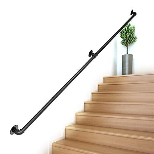 Seguridad Pasamanos Madera para escaleras, Barandilla for escaleras Interiores Exteriores Barandillas Soporte de riel - Metal Negro Hierro Forjado (6ft/180cm)