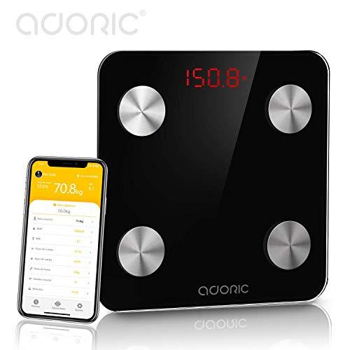 Báscula Grasa Corporal Bluetooth Más de 8 Funciones, Báscula Analógica Monitores de composición corporal Para Móviles Andriod y iOS (Negro).