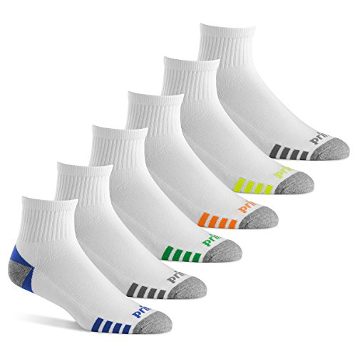Prince Men's Quarter Performance Socks for Running, Tennis, and Casual Use (Pack of 6) -...