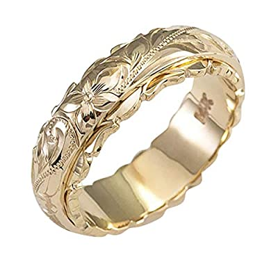 Cnebo Elegant Flower Wedding Ring for Women, Gold/Silver Plated Simple Style Eternity Wedding Band Bridal Engagement Rings Jewelry Gift for Wife, Women (Gold, 6)