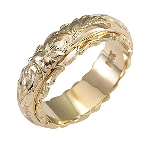 Richo Women Carving Chunky Ring, Retro Flowers Engraved Statement Band Ring, Women Party and Daily Jewelry Accessories