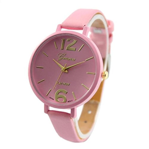 Toamen Women Girls Fashion Classic Wrist Watch Faux Leather Band Analog Display Quartz Dress Watch Gift (Pink)