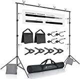 Julius Studio Premium Photo & Video 10 ft. Wide Backdrop Stand (122 x 86 inch) Background Support System Kit with Spring Clamp, Sand Bag, Carry Bag, Photography Studio, JSAG283