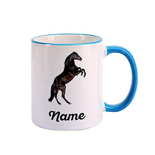 Striefchen® Tasse mit Pferd bedruckt und deinem Wunschnamen schwarzer Hengst