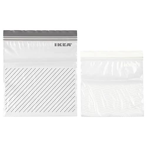Ikea ISTAD 503.422.37 - Bolsas reutilizables cierre, gris/blanco, 50 unidades