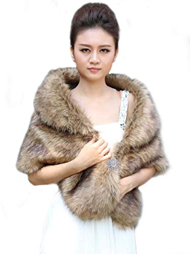 Venusvi Unicra Wedding Fur Wraps and Shawls Brown Faux Fox Fur Stoles Winter Cover Up for Women and Girls, 43875